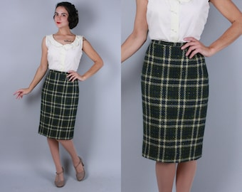 Vintage 1950s Skirt | 50s 60s Mossy Green Wool Tweed Pencil Skirt with Large Scale Plaid | Extra Small