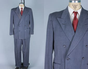 Vintage 1940s Men's Suit | 40s 50s Slate Blue & Bright Blue Pin Stripe 'The Mid-Century Suit' with Double Breasted Jacket | Size 42