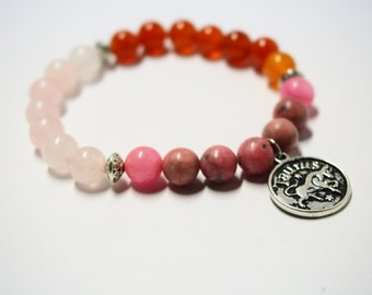 Taurus Bracelet with Carnelian, Rhodonite & Rose Quartz Gemstones/Astrology Jewelry for Star Signs/Horoscope Bracelet