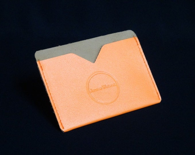 Pocket Wallet - Bright Salmon - Kangaroo leather with RFID credit card blocking - Handmade - James Watson
