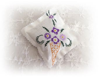 Repurposed vintage embroidered fabric lavender sachet filled with Australian lavender
