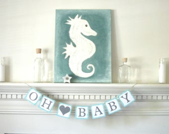 mint and gray baby banner,  oh baby banner, gender neutral baby shower decor, mint gray baby shower, mint gray baby decor, ready to ship