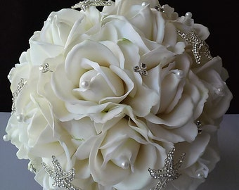 Starfish Bridal Bouquet-Beach Wedding Bouquet-Starfish Brooch Bouquet-Beach Wedding Flowers