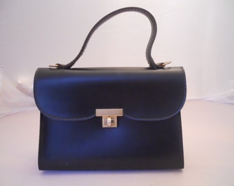 French Vintage 1950's Little Black Kelly Hand Bag with Golden Turn lock. Vinyl. Cute.