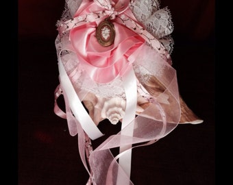 Exquisite pink and white handmade bow with a lovely vintage locket, great for halloween!