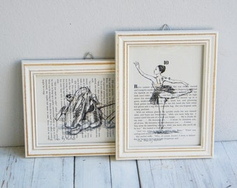 Framed picture set, Ballet art, Dictionary art, Ballerina poster, Book print
