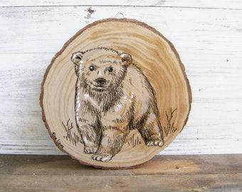 Woodland Nursery Decor, Baby Bear Print, Woodland Animals, Rustic Kids Room Decor, Woodland Baby Shower, Kids Decor, Wood Slice Art