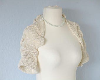 Knit wedding bolero Ivory bridal shrug Off white shrug Knit wedding wrap Bridesmaids bolero Crochet shawl Bridal capelet Ivory shrug jacket
