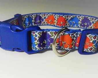 Adjustable Pawprint Dog Collar - Blue