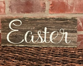 Easter sign, easter decoration, spring decor, easter plague, rustic, hand painted wood