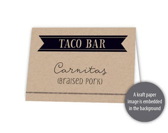 "Fiesta Buffet Tent Cards Template --- 3.5"" x 2.25"" (folded) --- Instant Download --- #C526-TC"