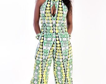 Trendy Afican print Overall with scarf