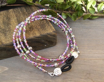 Eye Glass Chain, Delicate Multi Purple Reading Glasses Chain, Czech Glass Beaded Eyeglass Chain Eyeglass Holder Sunglasses Eyeglass Necklace