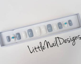 Something Blue | Bridal | Wedding | Engagement | Hand Painted False Nails | Little Nail Designs