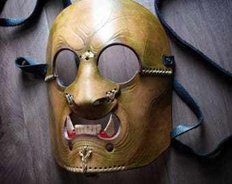 leather half orc mask for cosplay or larp