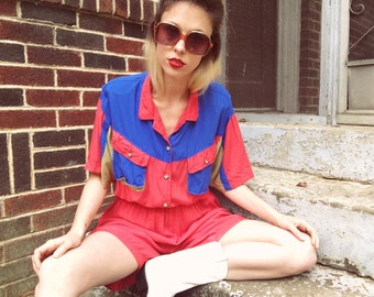 Vintage 80s C.A. Sport Hot Pink Tan + Blue Button Collared Short Sleeve Shorts Distressed New Wave Romper M