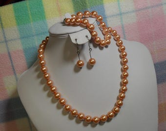 Peach Hand Knotted Shell Pearl Necklace, Bracelet and Earrings 10 mm~ Jewelry Set