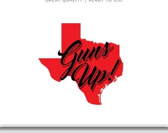 Texas Tech Graphic - Red Raiders -Guns Up - DXF - Texas Tech SVG - 7 Files Total - Digital Download - Ready to Use!