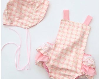 The Aurora set - vintage romper - baby girl romper - baby bonnet - summer baby clothes - girls ruffle romper