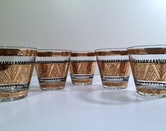 Culver Signed Mid-Century 22-Karat Gold Samoa Rock Glasses (Set of 5)