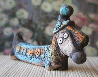 Dachshund, Ceramic statue for interior, statuette dog