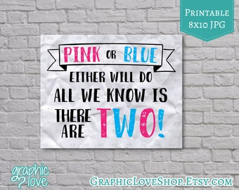 Printable 8x10 Pink or Blue Either will do Twins Pregnancy Announcement | Digital JPG File, Instant Download