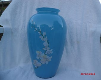 Beautiful Robin Egg Blue Vase with Flowers