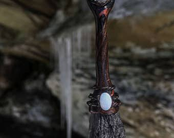 Black Kyanite and White Opal Witch's Broomstick Pendant