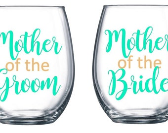 Mother of the Bride, Mother of the Groom, Stemless Wine Glass, Mother of the Bride Gift, Mother of the Groom Gift, Mother of the Bride Decal