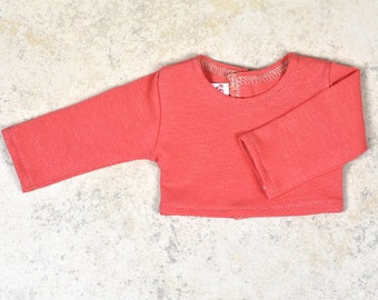 Long sleeve cropped top for 18 inch dolls Color Coral