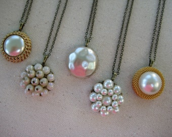 bridesmaid necklaces, vintage earring necklaces, bridesmaid gift, set of 5, pendant, upcycled recycled repurposed reclaimed vintage /w9