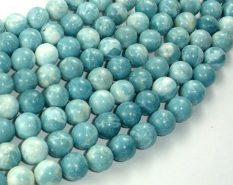 Larimar Quartz, 10mm Round Beads, 15.5 Inch, Full strand, Approx 40 beads, Hole 1mm (301054003)