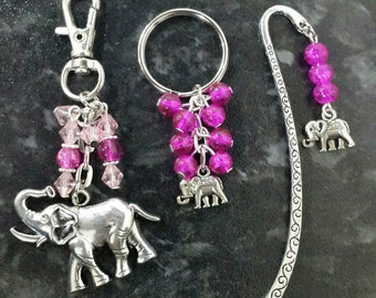 Elephant gift set. Bag charm, keyring and bookmark. Secret santa gift.