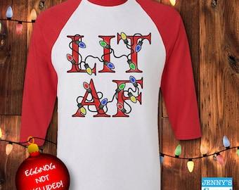 LIT AF Christmas | Funny Christmas | Ugly Christmas Baseball Tee