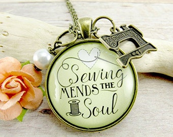 Sewing Mends the Soul Seamstress Necklace Gift for Sewer Seamstress Quote Pendant Sewing Jewelry Sewing Machine Charm