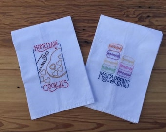 Hand Embroidered Flour Sack Dish Towels (Set of 2)
