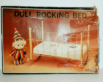 Vintage Doll Rocking Bed with Mattress  * Like New *
