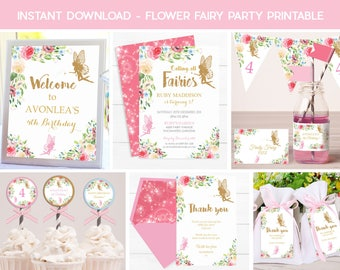 FAIRY INVITATIONS, Instant download Fairy Printable, Fairy Party, Flower Fairy Invitation, Gold Fairy Invitation, Fairy Decorations, Pink