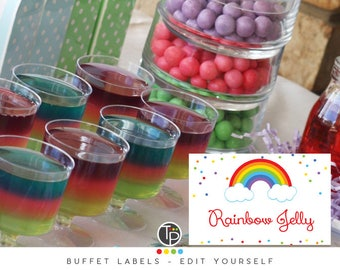 Rainbow Food Tent Cards, Instant download, Food labels, Rainbow Place Card, Rainbow Buffet Cards, Buffet Tent Cards, Edit yourself