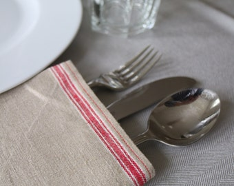 red seam napkin made from antique linen