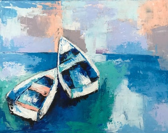 Boat painting, Sail boat, Abstract Sea art, Coastal decor, Tropical art, Seascape wall art, Canvas painting, Abstract painting, Art decor