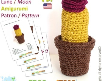 CACTUS - Moon - Amigurumi Crochet Pattern - American Terminology