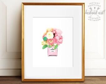 Glam decor PRINTABLE art,Chanel print,fashion print,watercolor art,pink flower print,flower art,flower illustration,fashion art,DOWNLOAD