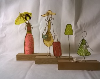 Set of three Wire sculpture art