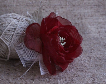 Marsala Flower Hair Clip-Bridal hair flower-Bridal head piece-Bridesmaids Hair flower-Maroon Hair flower-rose Flower Fascinator-Prom Flower