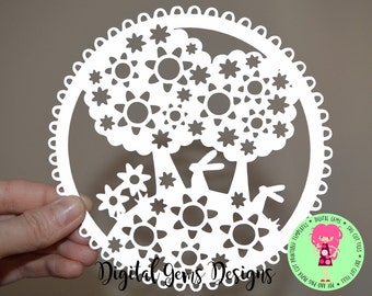 Rabbit paper cut svg / dxf / eps files and png / pdf printable templates for hand cutting. Digital download. Small commercial use ok.