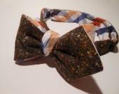 Daimond Point Reversible Brown Tweed and Checkered Plaid Bow Tie