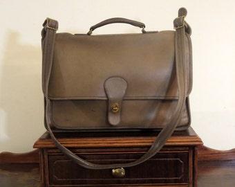 Coach Metropolitan Briefcase In Sage Leather- Made in New York City U.S.A. Rare Color- VGC