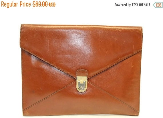 Football Days Sale Vintage Dinoffer  NY Collection Cognac Glazed Leather  IPad Sleeve Case Portfolio Bag Made in Italy