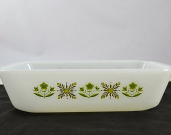 Vintage Anchor Hocking Fire King Milk Glass Loaf Pan In The Meadow Green Pattern